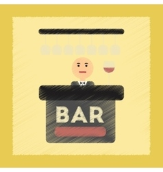 Flat shading style icon bar bartender vector