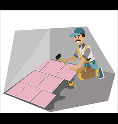 Floor installation performed skilled worker poster vector