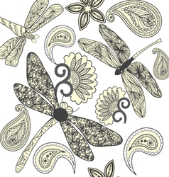 Floral Paisley and dragonflies in black and white vector