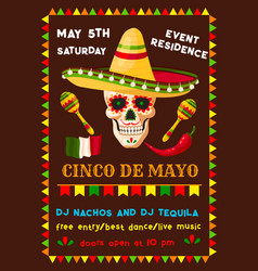 Flyer of mexican cinco de mayo fiesta party vector