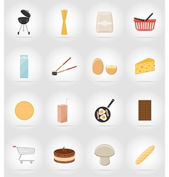 food objects flat icons 17 vector image