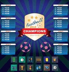 Football champions groups and teams vector