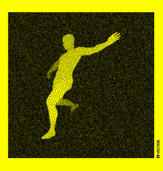 Football player 3d human body model black yellow vector