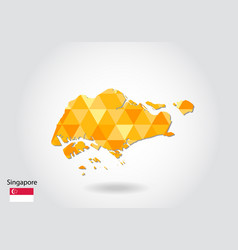geometric polygonal style map of singapore low vector image