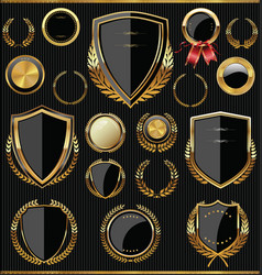 gold and black shields labels and laurels vector image