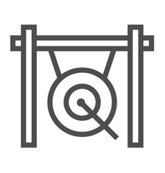 Gong line icon musical and china instrument sign vector