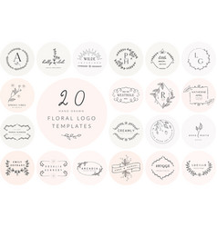 Hand drawn floral logo templates collection vector