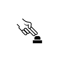 hand push alarm button flat icon vector image