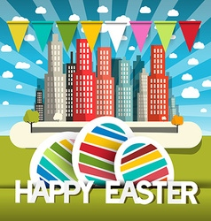 Happy Easter with City Flags and Easter Eggs vector image