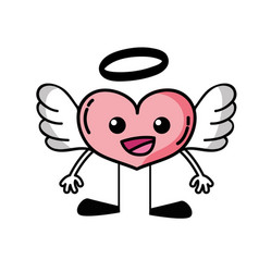 Happy heart angel kawaii with arms and legs vector
