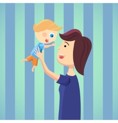 Happy mom with son cartoon vector