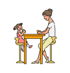 Happy mother and daughter eating together vector