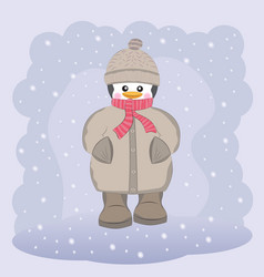 happy penguin in coat hat and scarf vector image