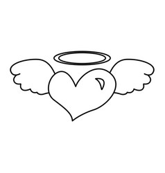 heart with angel wings isolated icon vector image