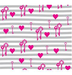 hearts and keys vector image