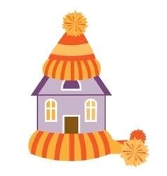 House in hat and scarf vector image