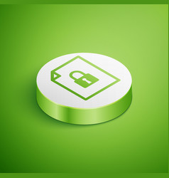 Isometric document and lock icon isolated on green vector