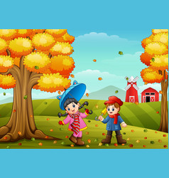 Kids playing in farm landscape at autumn vector