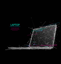 laptop low-poly glitch vector image