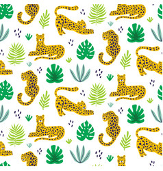 leopard and tropical leaves jungle pattern vector image