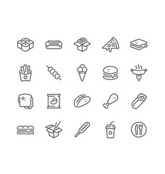 line fast food icons vector image