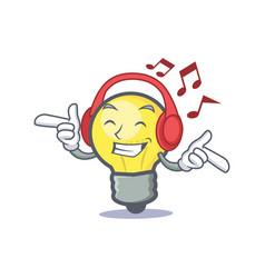 Listening music light bulb character cartoon vector