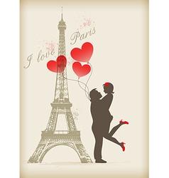 Loving couple in paris vector