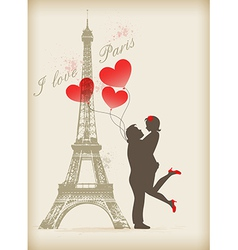 Loving couple in Paris vector image