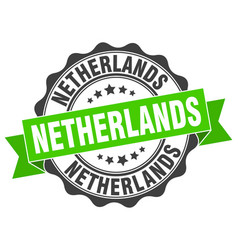 Netherlands round ribbon seal vector