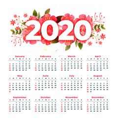 New year 2020 calendar design with flower vector
