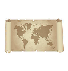 old papyrus with world map vector image