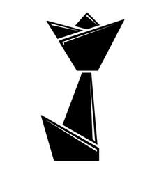 Origami tulip icon simple black style vector
