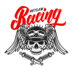 Outlaw racing emblem template with skull in racer vector