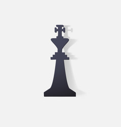 Paper clipped sticker chessman king vector