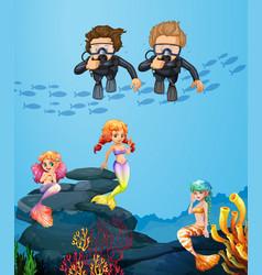 People diving underwater with mermaids vector