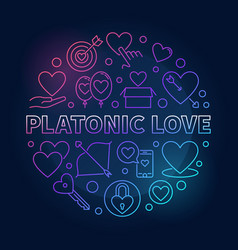 platonic love round colored outline vector image