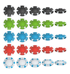 Poker chips 3d realistic set colored vector