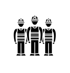 production team black icon sign on vector image