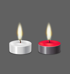 realistic 3d detailed candle light set vector image