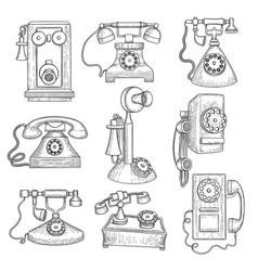Retro telephone old ancient technology gadgets vector
