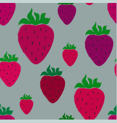seamless pattern with pink strawberry vector image