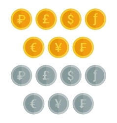 set coin icons in flat style vector image