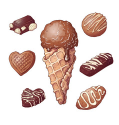 set ice cream chocolate nut hand drawing vector image