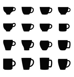 set of cups and mugs vector image