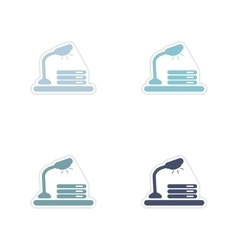 Set of paper stickers on white background table vector