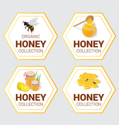 Set of raw honey labels for greetings and vector
