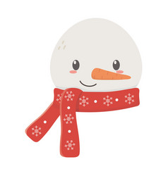 snowman face with scarf celebration merry vector image