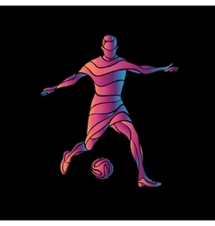 soccer player kicks ball the colorful vector image
