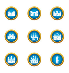 Spire icons set flat style vector