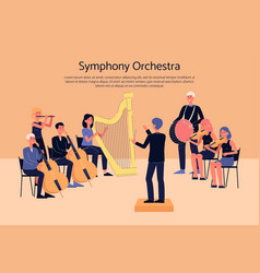Symphony orchestra musicians playing classical vector